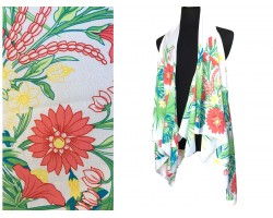 White Tropical Sleeveless Cardigan Top
