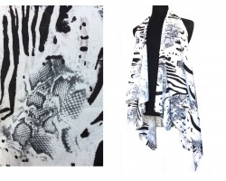 Black White Snake Zebra Pattern Sleeveless Cardigan