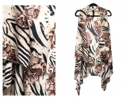 Brown Snake Zebra Pattern Sleeveless Cardigan