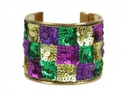 Mardi Gras Checker Seed Bead Sequin Cuff Bangle