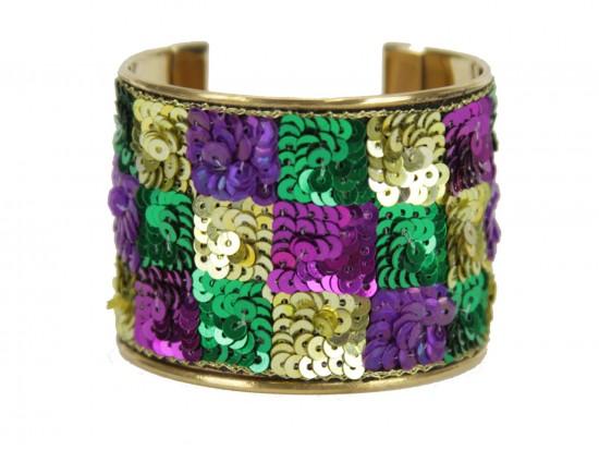 Mardi Gras Checker Seed Bead Sequin Cuff Bangle