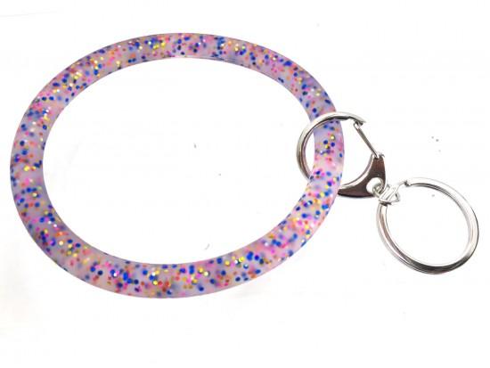 Multi Colored Glitter Silicon Bangle Keychain