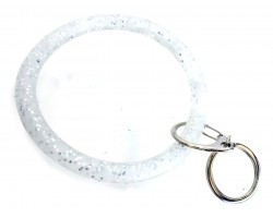 Silver Glitter Silicon Bangle Keychain
