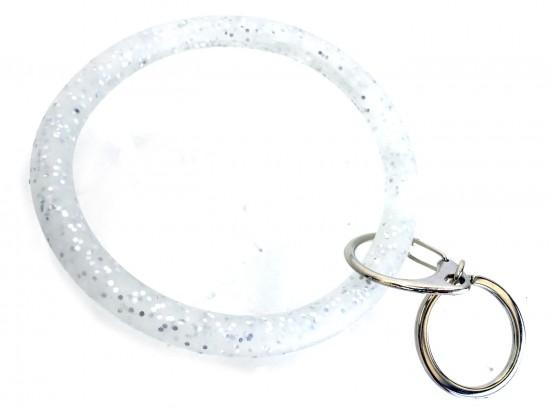 Silver Glitter Silicon Bangle Keychain