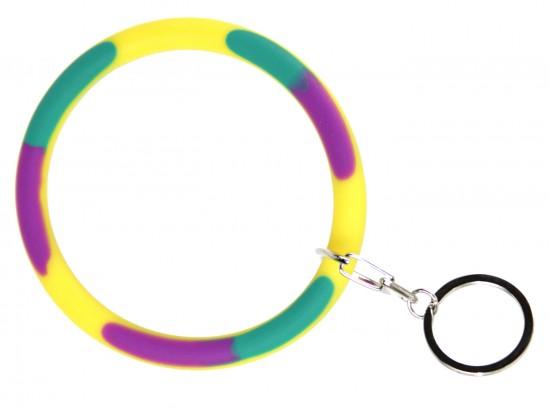Mardi Gras Silicon Bangle Key Chain