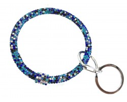 Blue Multi Crystal Bangle Key Chain