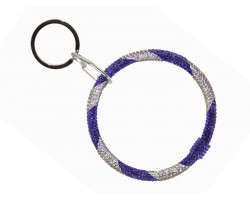 Blue White Crystal Bangle Key Chain
