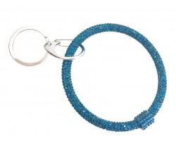 Blue Zircon Crystal Bangle Key Chain