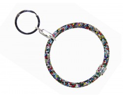 Dark Multi Crystal Bangle Key Chain