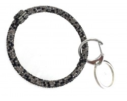 Gray Multi Crystal Bangle Key Chain