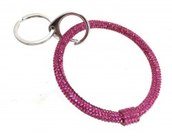 Hot Pink Crystal Bangle Key Chain