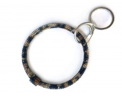 Brown Leopard Crystal Bangle Key Chain