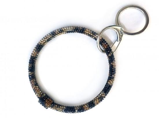 Brown Leopard Crystal Bangle Key Chain
