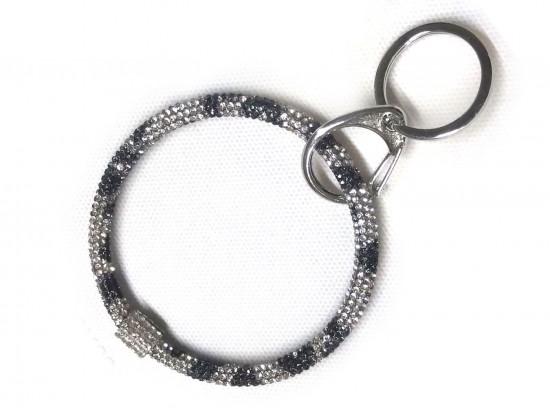 Snow Leopard Crystal Bangle Key Chain