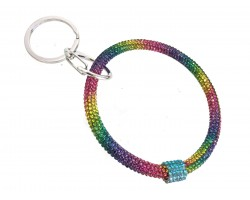 Rainbow Multi Crystal Bangle Key Chain