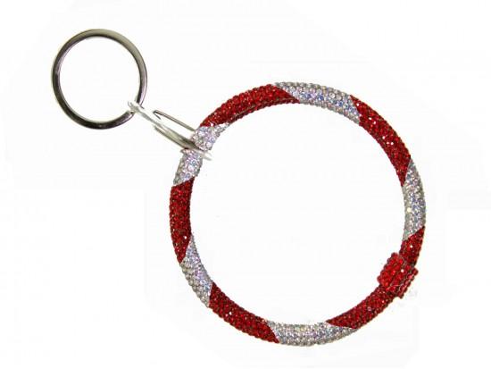 Red White Crystal Bangle Key Chain
