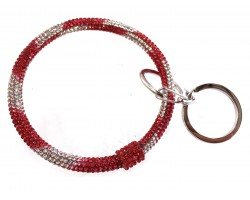Red White Crystal Bangle Key Chain