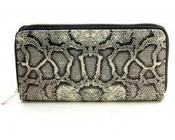 Gray Snakeskin Print Zipper Wallet