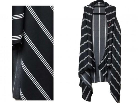Black White Stripe Pattern Sleeveless Cardigan.