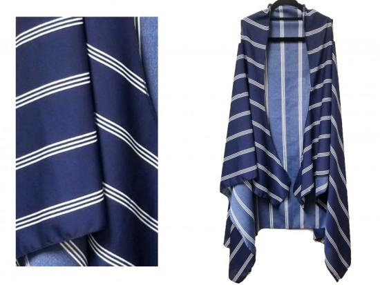 Navy White Stripe Pattern Sleeveless Cardigan.