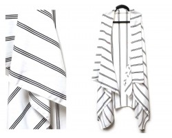 White Black Stripe Pattern Sleeveless Cardigan.