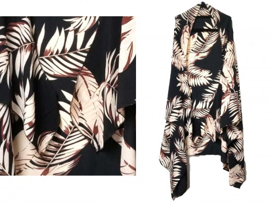 Black White Tropical Leave Pattern Sleeveless Cardigan