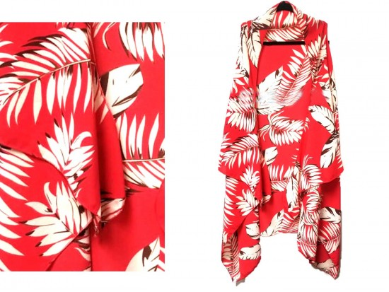 Red White Tropical Leave Pattern Sleeveless Cardigan
