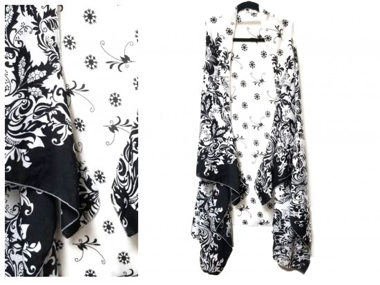 White Black Floral Pattern Sleeveless Cardigan