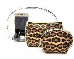Brown Leopard Makeup Bag 3pc Set