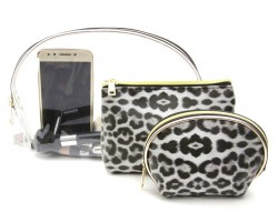 White Leopard Makeup Bag 3pc Set
