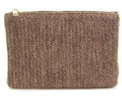 Brown Basket Weave Zipper Makeup Bag