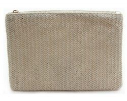 Light Brown Basket Weave Zipper Makeup Bag