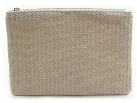 Light Brown Basket Weave Zipper Makeup Bag
