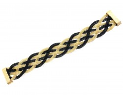 Black Gold Braided Mesh Magnetic Bracelet