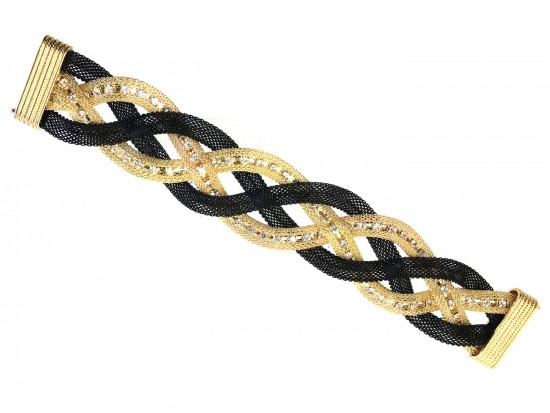 Black Gold Crystal Braided Mesh Magnetic Bracelet