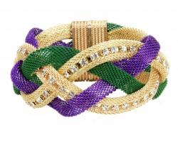 Mardi Gras Crystal Braided Mesh Magnetic Bracelet
