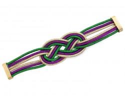 Mardi Gras 2 Knot Mesh Magnetic Bracelet
