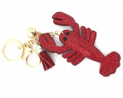 Red Crawfish Crystal Puffy Key Chain