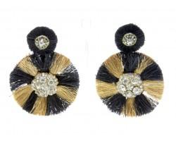 Black Gold Round Dangle Post Earrings