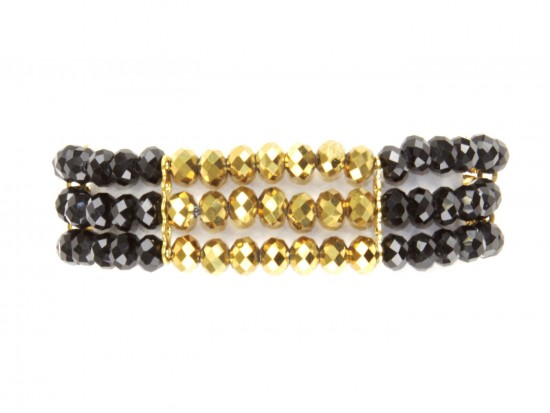Black Gold Crystal 3 Line Bead Stretch Bracelet