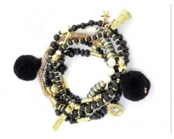 Black Gold Pom Pom Multi Strand Bracelet Set