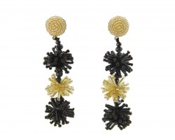 Black Gold Seed Bead Stars Dangle Post Earrings