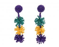 Mardi Gras Seed Bead Stars Dangle Post Earrings