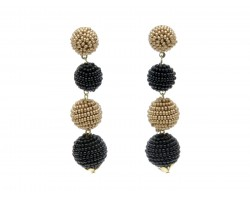 Black Gold Seed Bead Ball Bead Post Earrings