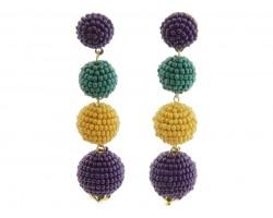 Mardi Gras Seed Bead Ball Bead Post Earrings