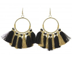 Black Gold Tassel Hoop Hook Earrings
