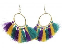 Mardi Gras Tassel Hoop Hook Earrings