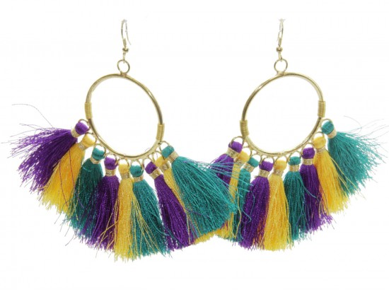 Mardi Gras Tassel Hoop Hook Earrings