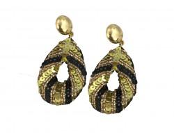 Black Gold Sequin Teardrop Dangle Post Earrings