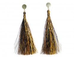 Black Gold Tinsel Tassel Post Earrings